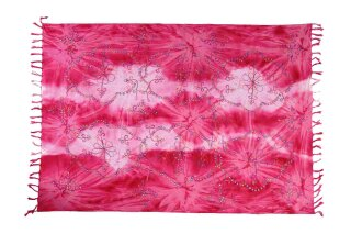 Sarong Pareo Wickelrock Strandtuch Lunghi Dhoti Tuch Schal Pailletten Pink
