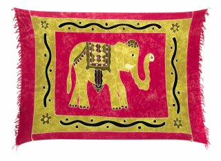 Sarong Pareo Wickelrock Dhoti Lunghi Tuch Strandtuch Loop Elefant Pink Handtuch