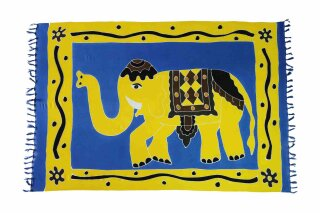 Sarong Pareo Wickelrock Dhoti Lunghi Tuch Strandtuch Loop Elefant Blau Schal
