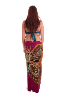 Sarong Pareo Wickelrock Dhoti Lunghi Tuch Strandtuch Loop Schmetterling Schal M1