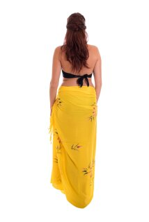 Sarong Pareo Wickelrock Dhoti Lunghi Tuch Strandtuch Hüfttuch Blume Gelb Tuch
