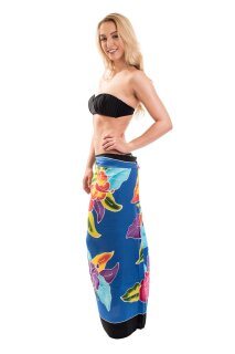 Sarong Pareo Wickelrock Dhoti Lunghi Tuch Strandtuch Blume Knall Bunt Wickeltuch