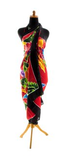 Sarong Pareo Wickelrock Dhoti Lunghi Tuch Strandtuch Blume Rot Bunt Blickdicht