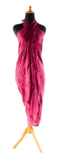 Sarong Pareo Wickelrock Lunghi Dhoti Tuch Strandtuch Pailletten Fuchsia Schal