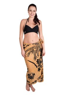 Sarong Pareo Wickelrock Lunghi Dhoti Tuch Strandtuch Tribal Gecko Beige Beach
