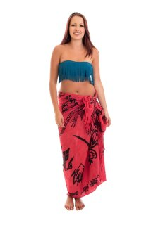 Sarong Pareo Wickelrock Lunghi Dhoti Tuch Strandtuch Tribal Gecko Rot Schal