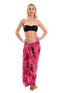 Sarong Pareo Wickelrock Lunghi Dhoti Tuch Strandtuch Tribal Gecko Pink Schal