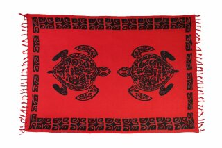 Sarong Pareo Wickelrock Strandtuch Handtuch Lunghi Dhoti Wandbehang Schildkröte Tribal Rot
